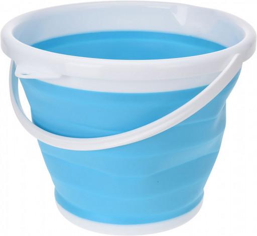 Ведро 5 литров туристическое складное Collapsible Bucket голубое