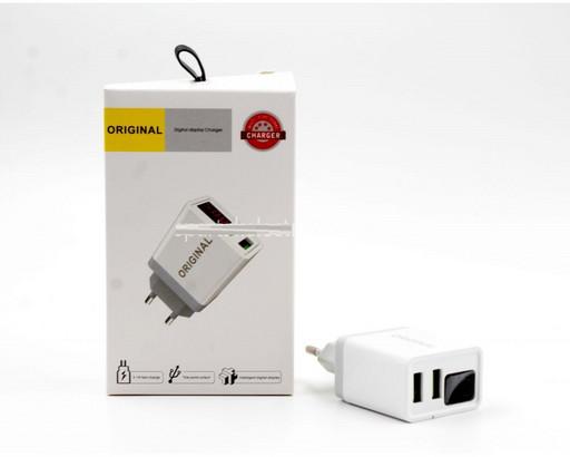 Адаптер с дисплеем adapter 220v 2 usb with digital disply CX QC03