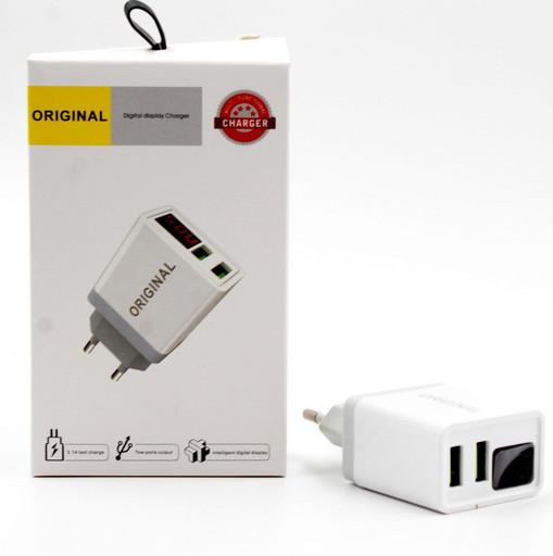 Зарядное Устройство с Дисплеем CX QC03 220V 2 USB With Digital Display Блок Питания Зарядка