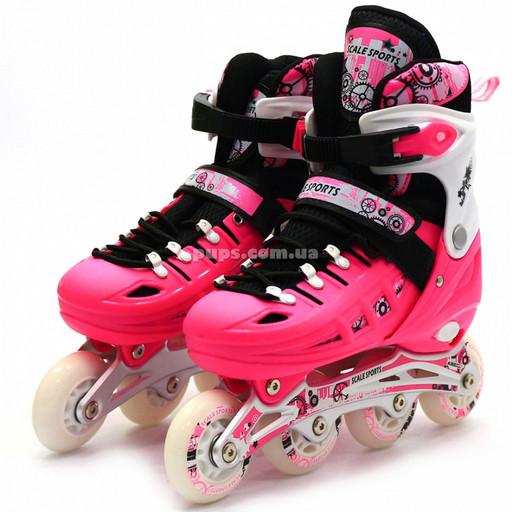Детские ролики розовые (размер 31-34, металл, светящиеся колёса ПУ) LF905S
