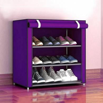 Складной тканевый шкаф для обуви с полками Easy Comfort B4 обувной стелаж Фиолетовый