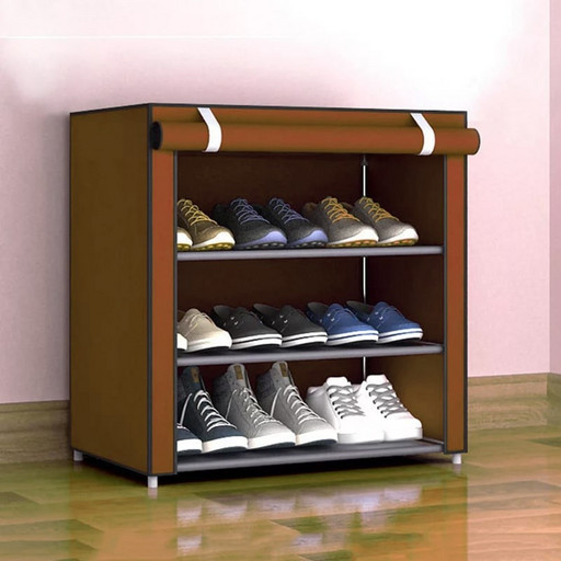 Складаний тканинний шафа з полицями для взуття Easy Comfort B4 взуттєвої стелаж Коричневий