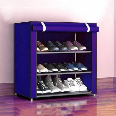 Складной тканевый шкаф для обуви с полками Easy Comfort B4 обувной стелаж Синий