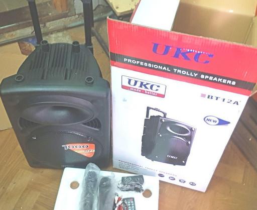 Колонка Аккумуляторная 12 UKC BT12A Блютуз 2 микрофона USB FM 1000 Вт