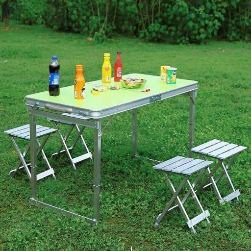 Усиленный стол для пикника с 4 металлическими стульями SunRise Vip-2108