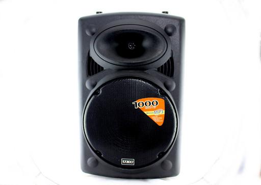 Портативная колонка UKC BT15A + 2 mic + BT 12v\220v беспроводных микрофона в комплекте / входы для USB и SD-ка