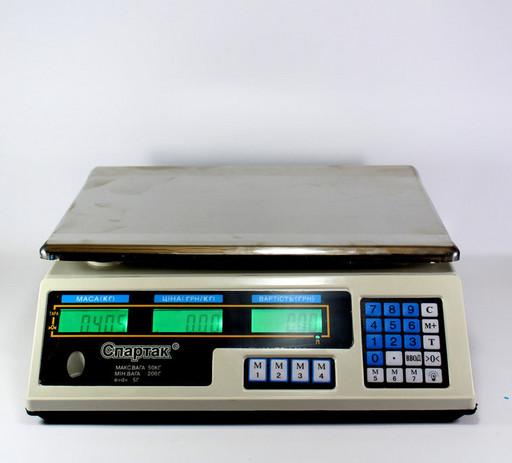 Весы ACS 50kg/5g 218 Domotec 6V flat-pan, Электронные торговые весы, Весы аккумуляторные, Весы с таблом