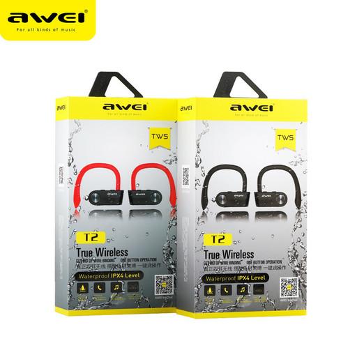 Беспроводные вакуумные Bluetooth наушники Awei T2 Black
