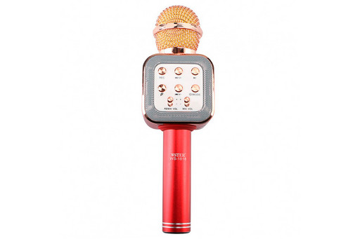 Беспроводной микрофон для караоке WSTER WS-1818 с функцией изменения голоса Красный (1em_006556)