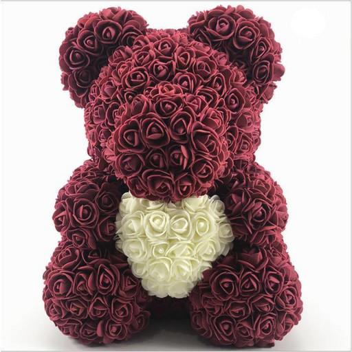 Мишка из роз (материал фоамиран) Lerosh - бордовый 40 см, сердце молочное