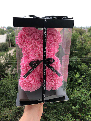 ОРИГИНАЛ ! Мишка из роз 25 см в Подарочной Коробке. Красный и Розовый 3D медведь.