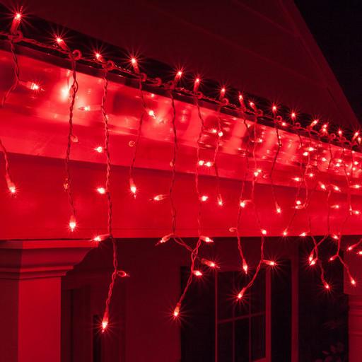 Гирлянда 'ICICLE' (Бахрома) уличная красный цвет с мерцанием (флеш) 3*0,8м (100led) белый провод IP 56
