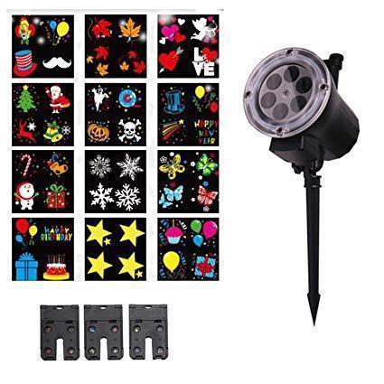 Новогодний лазерный проектор 12слайдов led change card garden projector