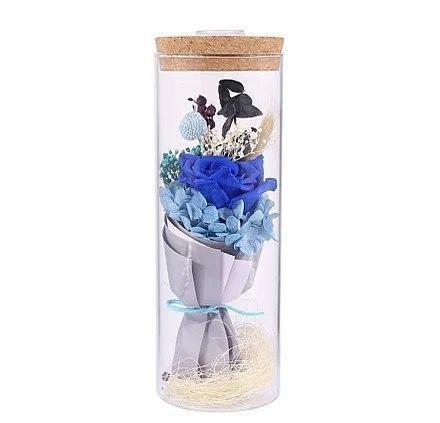 Роза в колбе с LED подсветкой Большая №A52 синяя