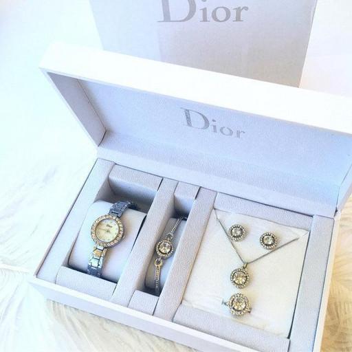 Подарочный набор для девушки DIOR silver, в комплекте: часы/браслет/кольцо/цепочка/серьги, нержавеющая сталь