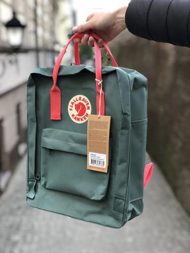 Рюкзак Fjallraven Kanken Bag classic / ПРЕМІУМ ЯКОСТІ / Зелений з рожевими ручками