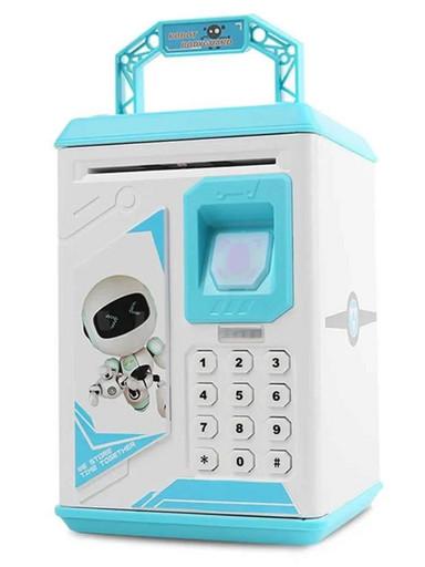 Электронный сейф копилка Robot Bodyguard с отпечатком пальца Голубой