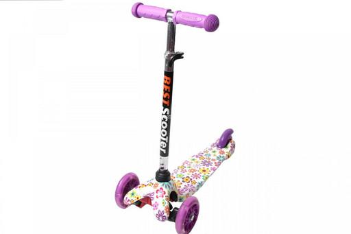 Самокат Детский Mini c Принтом (Рисунок) Фиолетовый Цветочки