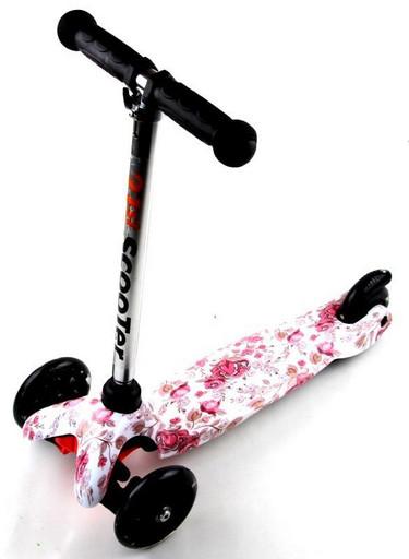 Самокат Детский Mini c Принтом (Рисунок) Розовые цветочки