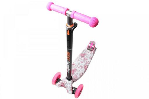Самокат Детский Maxi Best Scooter c Принтом (Рисунок) Розовые цветочки