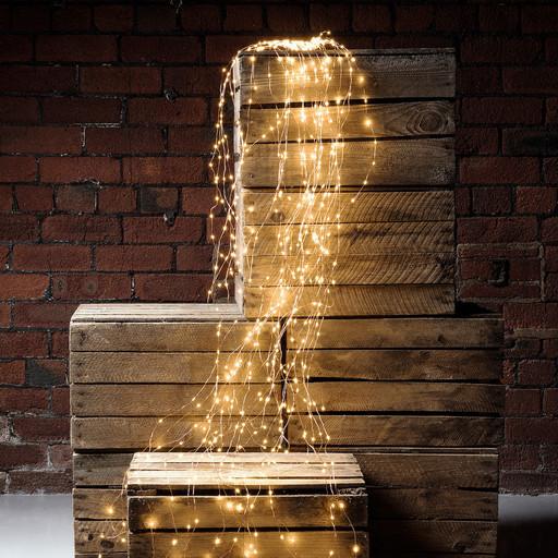Гирлянда Конский хвост пучок 360 LED: 18 линий по 2 м, 25 диодов/ нить, цвет - тёпло-белый, динамический