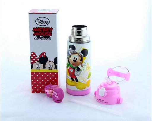 Детский термос Микки Маус с трубочкой zk g 603 350мл Розовый, Disney Mickey Mouse 350ml Pink