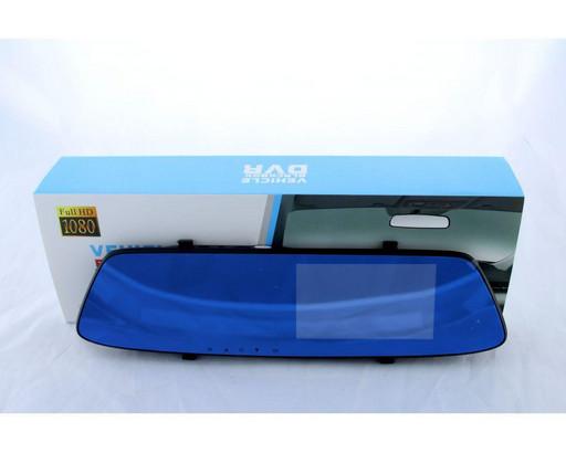 Видеорегистратор в автомобиль DVR T605 HD зеркало с двумя камерами BlackBox 1080p сенсорный екран