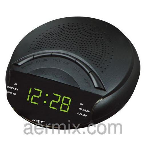 Электронные радиочасы VST 903-2 зеленые, часы с радио fm, радиочасы будильник, настольные сетевые часы