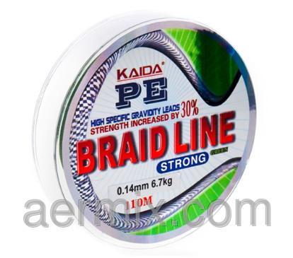 Плетенка BRAID LINE KAIDA strong YX-112-16, braid line плетенка, шнур плетеный рыболовный 110м толщина 0,16мм