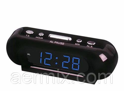 Настольные часы VST 716-5 синие, часы настольные электронные цифровые с подсветкой, сетевые часы с будильником
