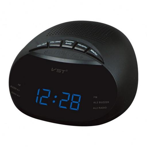 Электронные радиочасы VST 901-5 синие, часы с синим циферблатом, настольные сетевые часы, часы fm радио