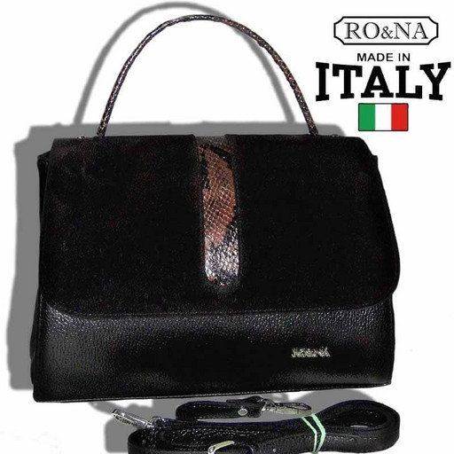 Кожаная сумка с замшей на клапане - RO&NA