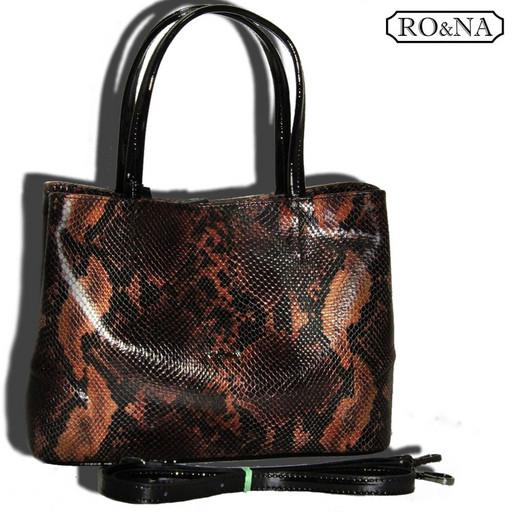 Итальянская сумка из натуральной кожи с имитацией под змею и ящерицу