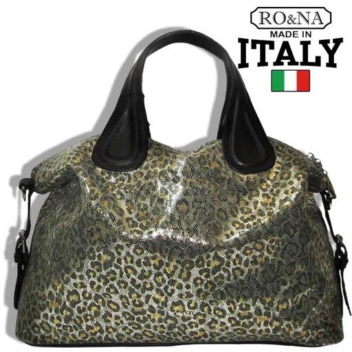 Итальянская сумка из натуральной кожи - леопардовый принт