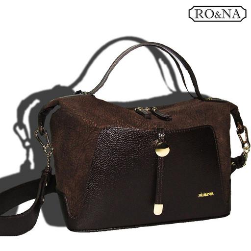 Коричневая кожаная женская сумка - RO&NA