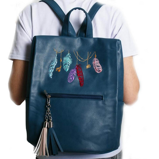Женский рюкзак с вышивкой перьев - Serena