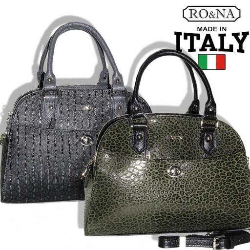 Итальянская сумка из натуральной кожи через плечо - 3 отделения на молнии