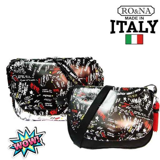 Женская кожаная сумка через плечо - Итальянская с буквами