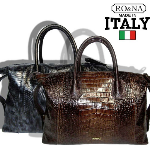 Женская сумка из натуральной кожи с имитацией - Итальянская Боулинг бэг