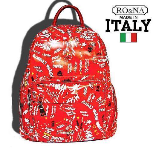 Женский рюкзак из натуральной кожи - Итальянский с буквами