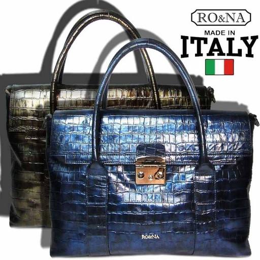 Перламутровая кожаная сумка из Италии-RO&NA