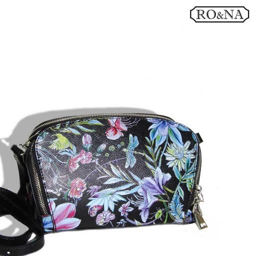 Женская маленькая сумка из натуральной кожи - цветочный принт