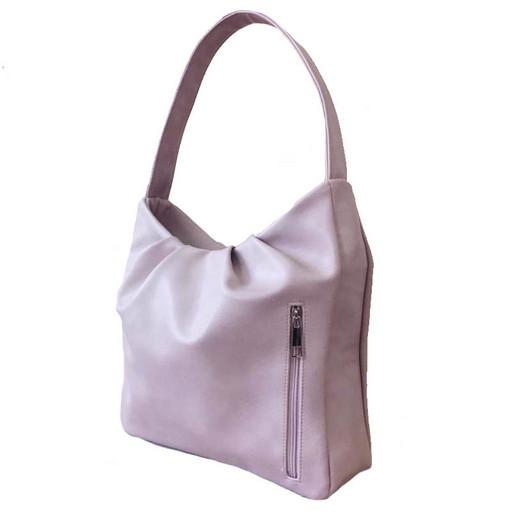 Женская сумка на плечо - летняя хобо цвета пудры