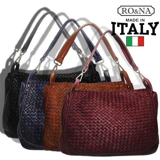 Женская винтажная сумка из натуральной вареной кожи в виде плетения