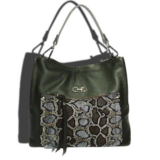 Женская кожаная сумка со съемной ручкой и ремнем