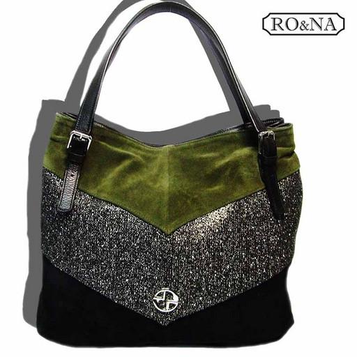 Замшевая сумка с кожаными вставками-RO&NA