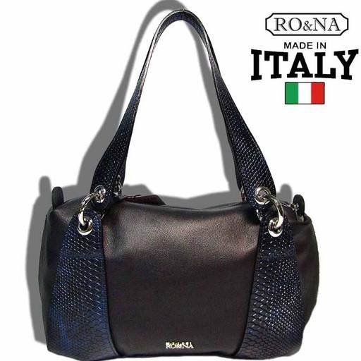 Итальянская сумка из натуральной комбинированной кожи на плечо