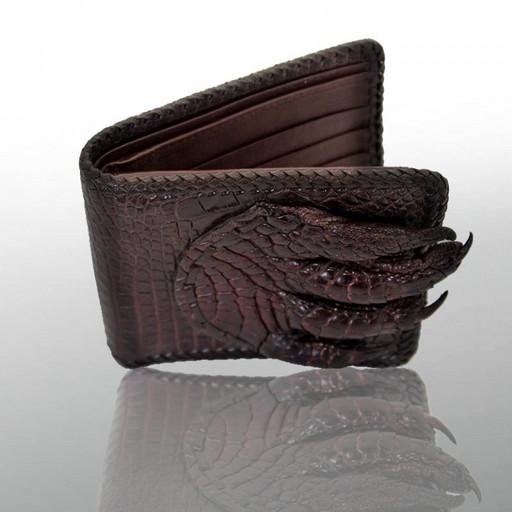 Кошелек-портмоне кожаный мужской с лапой крокодила