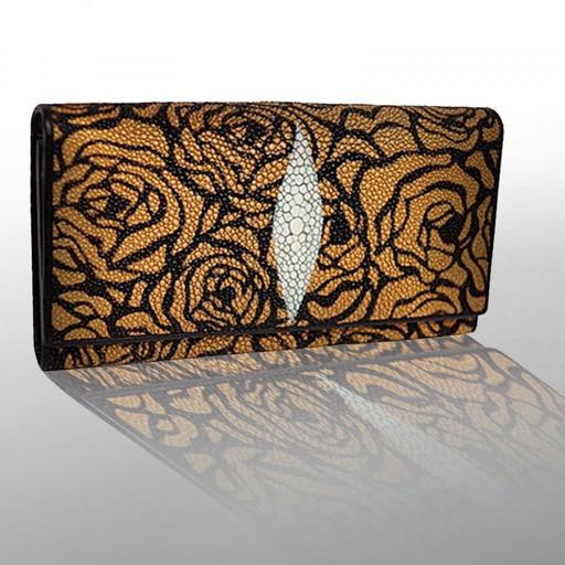 Кожаный кошелек женский золотистый с розами