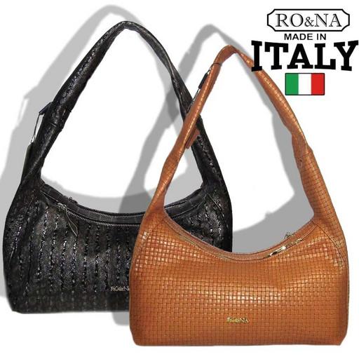 Кожаная сумка багет с широкой ручкой RO&NA